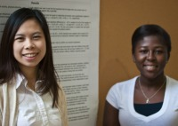 "Nadrat Nuhu and Sijia Li present their poster ""Evaluating Passion"" at SpARC"