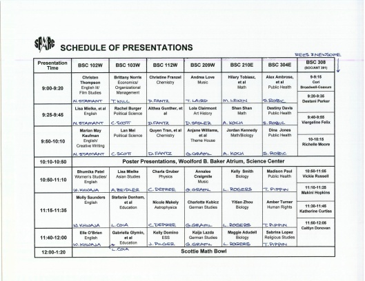 SpARC schedule part 1