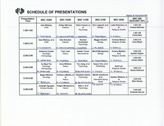 SpARC schedule part 2